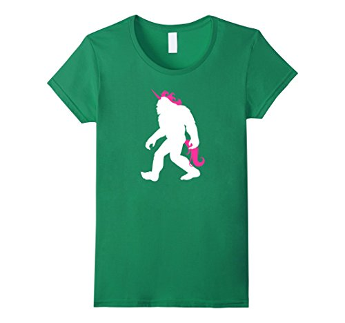 Womens Bigfoot Unicorn T-shirt Funny Bigfoot Halloween Costume XL Kelly Green