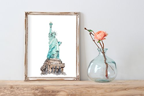 Watercolor Statue of Liberty Home Print | 8 x 10 | Wall Decor