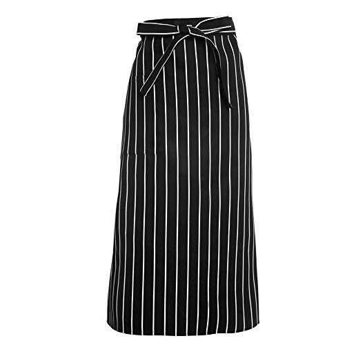 [Kocome Chefs Waiters Kitchen Aprons Half-length Long Waist Apron Catering Uniform (Black and White] (Funny Uniform Costumes)