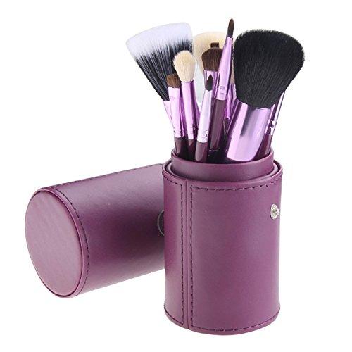 WiCareYo 12Pcs Set di pennelli per trucco Powder Face Blush Maschera per il viso Foundation Ombretto Kit di strumenti cosmetici in Purple Cylinder Holder Witop