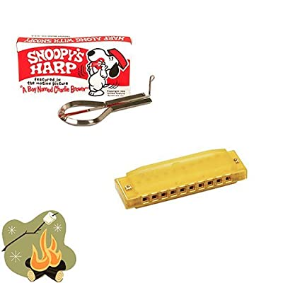 camping toys Campfire Music Pack - Summer Fun Pack with Snoopy Jaw Harp & Yellow Translucent Hohner Harmonica: Toys & Games