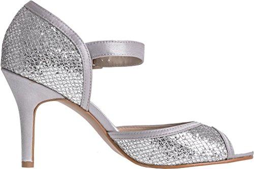 LEXUS - Zapatos de vestir para mujer Silver Grey Textile