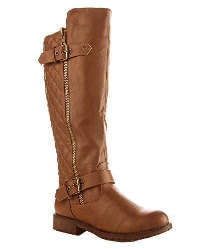 RF ROOM OF FASHION Vivienne-02 Motorcycle Boots (Tan PU Size (Tall Flat Riding Boot)