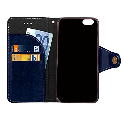 iPhone 6 / iPhone 6s 4.7 inch Case Cover LifeePro [Anti-Scratch] Retro Business Leather Wallet Case Flip Stand Full Body Protection Cover with Lanyard for iPhone 6 / iPhone 6s 4.7 inch Blue