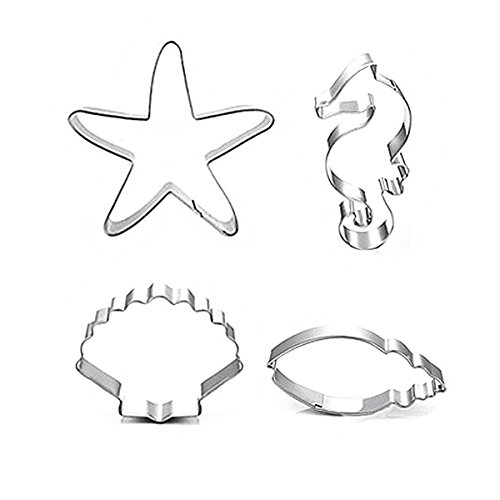Efivs Arts Set of 4 Ocean Series Cookie and Fondant Cutter Stainless Steel Biscuit Mini Mousse cake Molds(Starfish Shell Hippocampus and Conch)