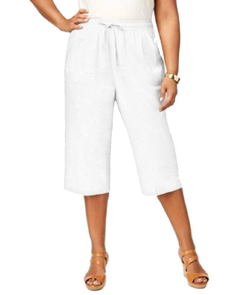 917d1b73e083c Amazon.com  Karen Scott Plus Size Cotton Drawstring Capri Pants  Clothing