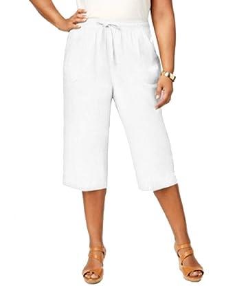 6b296aad88c44 Amazon.com  Karen Scott Plus Size Cotton Drawstring Capri Pants ...