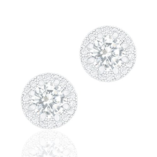 ORROUS & CO Legacy Collection 18K White Gold Plated Cubic Zirconia Halo Stud Earrings, Round