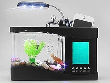 Mini tanque de peces acuario USB con pantalla LCD multifuncional calendario y soporte para bolígrafo: Amazon.es: Productos para mascotas