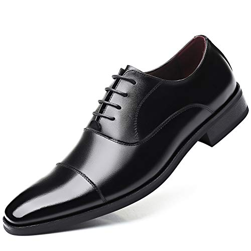[poerkan] ビジネスシューズ メンズ レザー 本革 革靴 高級靴 レースアップ 大きいサイズ 軽量 紳士靴 ストレートチップ 内羽根 抗菌防臭 防滑 3E (ブラウン / 24.0cm)