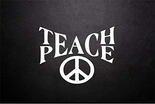 Teach Peace (White) Wall-Decal High Teacher Quote Classroom Workroom principal's Office Headmaster's Decal School Education Sticker Decor (13