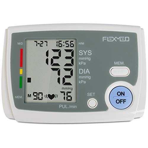 FLEXMED Portable Automatic Upper Arm Blood Pressure Monitor with Large Cuff LCD Display Single Type 90 Memory FDA Approved Batteries Included