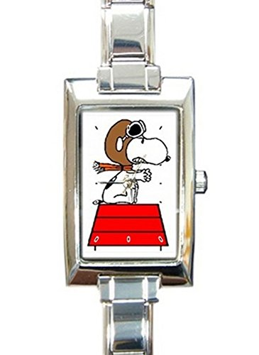 Fighter Pilot Snoopy Rectangular Italian Charm Watch with Stainless Steel 16 Link Wrist Strap Peanuts Charlie Brown