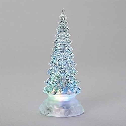 (Holiday Pine Tree Multicolored Light Up Glitter Confetti Swirl 8.5 Inch Acrylic Tabletop)