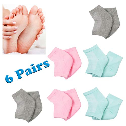 HeelMoisturizing Wisking Socks - BEATTYCARE Soft Spa Gel Heel Moisture Socks Women Men Ventilate Open Toe Socks 6 Pairs for Dry Hard Cracked Moisturizing Day Night Care Skin, Cotton, 3 Colors