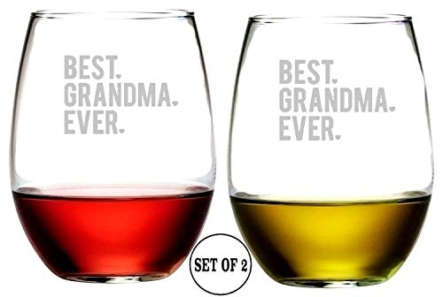 "Best Grandma Ever Stemless Wine Glasses | Etched Engraved | Perfect Fun Handmade Present for Everyone | Lead Free | Dishwasher Safe | Set of 2 | 4.25"" High x 3.5"" Wide 