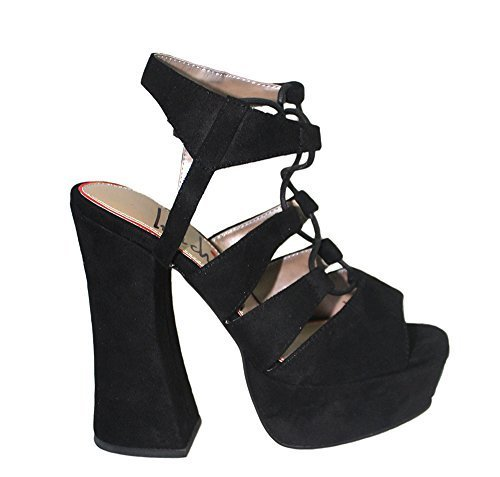 Luichiny Women's Try This On Platform Sandal,Black Imi Suede,US 8.5 M -