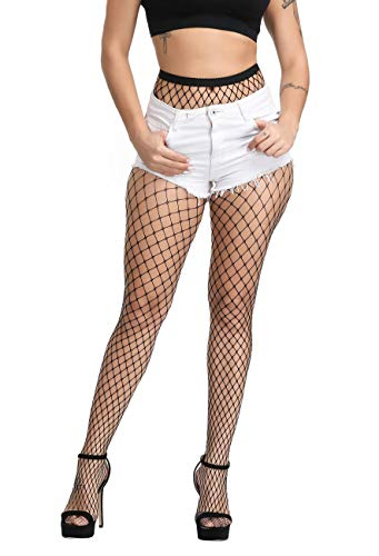 Betteraim Women's Hollow Out Rhinestone Fishnet Pantyhose Tights (Free Size, X-01Middle Black)