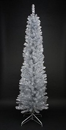 Northlight Unlit Silver Tinsel Artificial Pencil Christmas Tree, 6' x 20