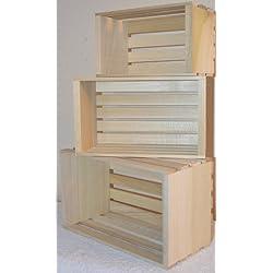 Amish Wares Small Miniature Sized Poplar Crates, Handmade, Set of 3