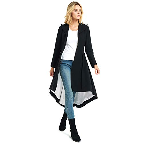 City In Left Women' Slim Long Dovetail Turn-Down Collar Trench Coats (Large, Black) -