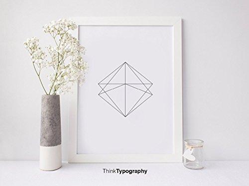 Abstract, Simple, Modern, Trendy, Black and White, Poster, Polygonal, Geometric, Geometrical, Art Print, Wall Art, Home Decor, Scandinavian