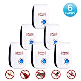 Amzus Inc. 6-Pack Ultrasonic Pest Repellent – 2018 Upgraded Electromagnetic Pest Repelling Technology - Protects Against Rodents, Bugs, Spiders, Ants - Large Coverage - Pet& Human Friendly