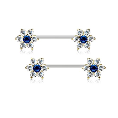 Dynamique CZ Flowers on Both Ends 316L Surgical Steel Barbell Nipple Rings