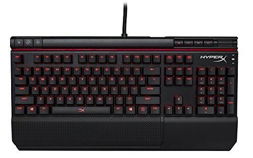 HyperX Alloy Elite - Mechanical Gaming Keyboard - Radiant Light Bar - Wrist Rest & Gaming Keycaps Included - Media Controls - Clicky - Cherry MX Blue - Red LED Backlit (HX-KB2BL1-US/R1)