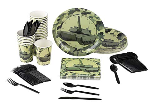Disposable Dinnerware Set - Serves 24 - Camo Party Supplies for Kids Birthdays, Tank Design, Includes Plastic Knives, Spoons, Forks, Paper Plates, Napkins, Cups