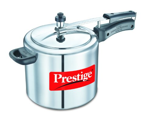 (Prestige PRNPC5 Nakshatra Plus 5-Liter Flat Base Aluminum Pressure Cooker for Gas and Induction Stove, Medium, Silver)