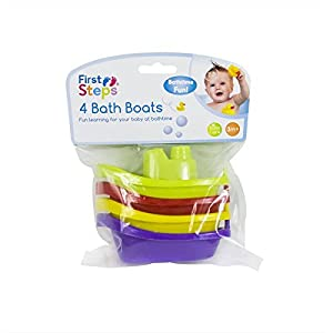 First Steps Bath Boats Multicoloured Pack of 4