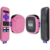 Skinomi TechSkin - Roku SE Pink Carbon Fiber Full Body Skin / Front & Back Wrap Clear Film / Ultra HD and Anti-Bubble Invisible Shield