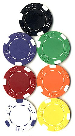 125 Double DICE Striped POKER CHIPS SET 11.5 gram Choose Your Colors 6 Choices