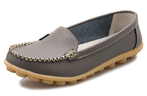 Summerwhisper Chaussures De Conduite Confortables Antidérapantes En Cuir Slip-on Flâneurs Mocassins Chaussures De Bateau Gris