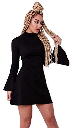 Momo&Ayat Fashions Ladies Turtle Neck Bell Sleeve Skater Dress UK Size 6-14 (Black, UK 10 (EUR 38)) from Momo&Ayat Fashions
