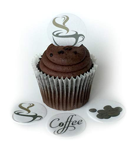 Coffee House Drinks Beans Wafer Paper Toppers 1.5 Inch for Decorating Desserts Cupcakes Birthday Cakes Cookies Pack of 12 ()