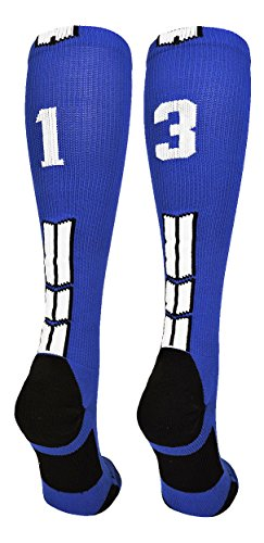 MadSportsStuff Royal/White Player Id Over The Calf Number Socks (#13, Small)