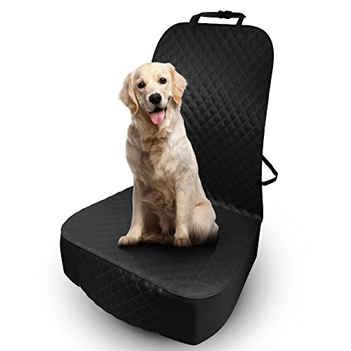 Pet Dog Front Seat Cover - Protector for Cars, SUVs, Trucks - Durable, Waterproof, Scratch-proof, Premium Liner, Quilted Non-Slip Cotton Material - Ideal for Small Dogs and Cats