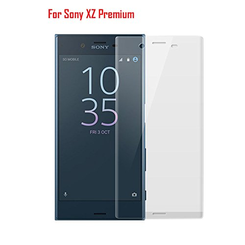 Sony Xperia XZ Premium Screen Protector, iKNOWTECH 9H Full Coverage 0.2mm Tempered Glass Film CURVED 3D Protection Screen Protector [Bubble Free][3D Touch] For Sony Xperia XZ Premium (Transparent)