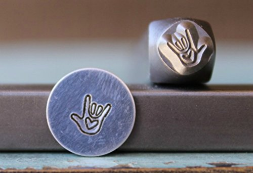 6mm Sign Language I Love You Symbol Metal Punch Design Jewelry Stamp