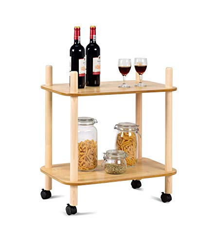 2 Tier Rolling Utility Storage Rack Serving Cart - 24