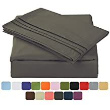 """Balichun Luxurious Bed Sheet Set-Highest Quality Hypoallergenic Microfiber 1800 Bedding Super Soft 4-Piece Sheets with 14"""" Deep Pocket Fitted Sheet Twin/Full/Queen/King/Cal King Size (Queen, Dark Grey)"""