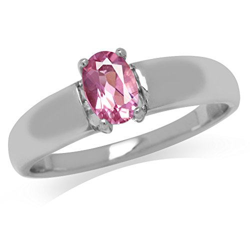 (Natural Pink Tourmaline White Gold Plated 925 Sterling Silver Solitaire Ring Size 7)