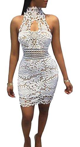 Capestro Mini Pizzo Floreale Abito Clubwear Jaycargogo Backelss Bodycon Bianco Sexy Womens q5TFwF