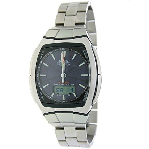 CASIO WVA-440DE-1A - Reloj de caballero RadioControlado y Solar - Analógico y Digital - Acero inoxidable: Amazon.es: Relojes