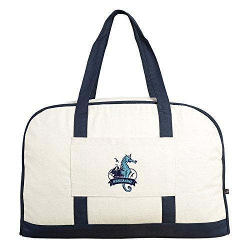 Beale Street 56 ::: Freizeit-Tasche mit Wunschnamen ::: mit Seepferdchen-Motiv