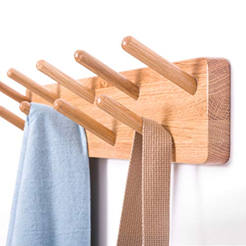 Amazon.com: L&QQ Wall Mounted Coat Rack - Wood Hook Rack for Coat Clothes Hats and Towels - Wooden Peg Rack for Use in Bedrooms Bathrooms and Hallways - Peg ...