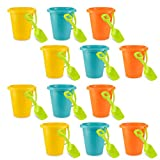 4E's Novelty Pack of 12 Sand Beach Pails and Shovels, Plastic Buckets 6.5 inches, Great Summer Party Accessory, Pool Fun Activity for Kids Boys and Girls, 3 Bright Colors Yellow Blue & Orange