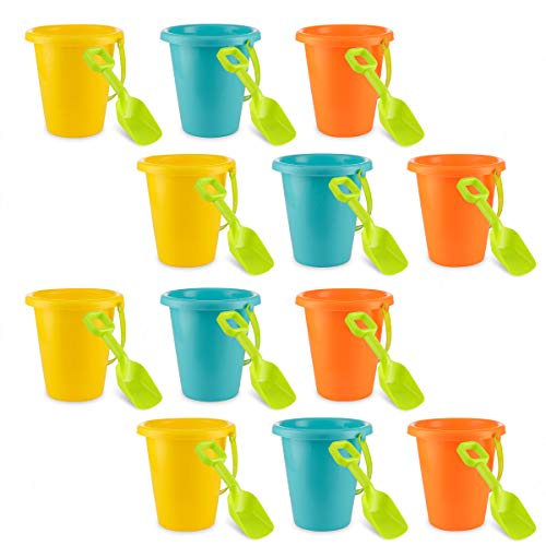 (4E's Novelty Pack of 12 Sand Beach Pails and Shovels, Plastic Buckets 6.5 inches, Great Summer Party Accessory, Pool Fun Activity for Kids Boys and Girls, 3 Bright Colors Yellow Blue & Orange)